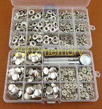 100 Set 15mm Silver Snap Fasteners Press Stud Button Leathercraft Tool