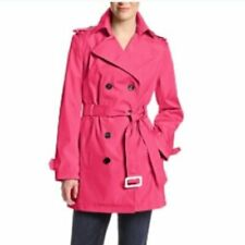 Calvin Klein Hot Pink Double Breasted Trench Coat Belted Bright Large