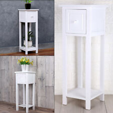Modern White Bedside Telephone Table With Drawer Side Living Room Slim Tall