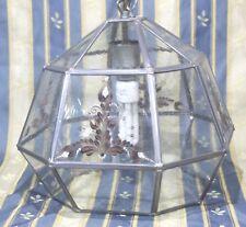 Glas / Zinn Deckenlampe bemalt signiert Bauernstube Rustikal Edel