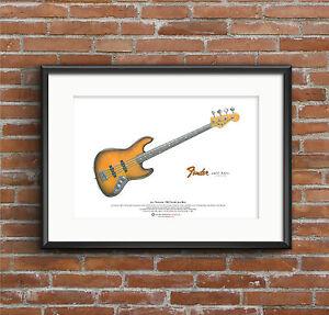 Jaco Pastorius' 1962 Fender Jazz 'Bass of Doom' ART POSTER A3 size