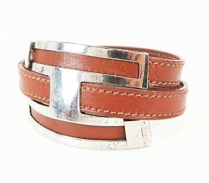Authentic HERMES Brown Leather and Silvertone Pousse Pousse Bracelet #32153