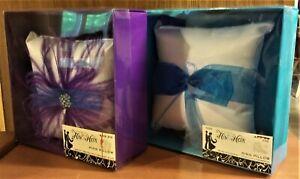 "NIB Studio His & Hers Wedding Ring Pillow, Purple OR Turquoise on White, 6.5"" Sq"