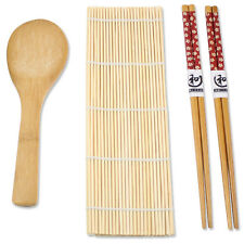 Natural Brown Bamboo Mat with Rice Paddle 2 pairs of Chopsticks Sushi Maker Set