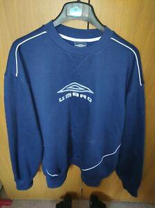 Vintage Umbro Spellout Sweatshirt Pullover Jumper Blue Large Embroidered