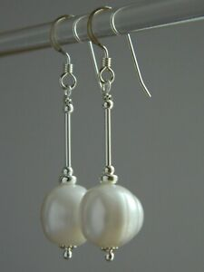 Large Ivory White Baroque Freshwater Pearls & 925 Sterling Silver Drop Earrings