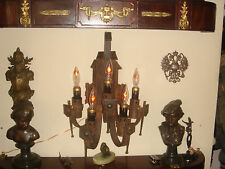 ANTIQUE 1880s  JAPAN MISSION LARGE  IRON BRUTALIST WALL SCONCES LIGHT LAMP