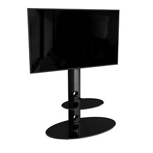 """AVF Lugano Cantilever TV Stand for TV up to 60"""" Black Glass Topped upto Vesa 600"""