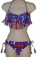 Raisins bikini swimsuit size M blue fringe bandeau 2 piece set nwt new