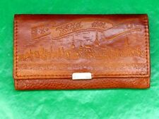 USSR, Soviet Latvia Real Leather Women's Wallet. Old Riga Landscape Stamped.
