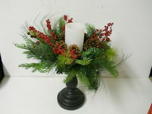 "Bethlehem Lights 15.5"" Pedestal LED Candle W/Prelit Greenery Wreath Christmas"