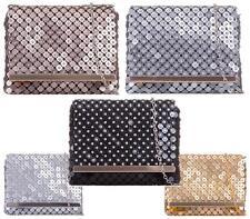 Ladies Prom Metallic Diamante  Envelope Clutch Bag Evening Fashion Handbag