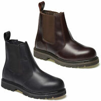 MENS DICKIES SAFETY LEATHER DEALER BOOTS SIZE UK 6 - 12 BLACK BROWN FD22200