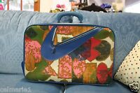 Vintage 1960s Swoosh Canvas Suitcase, Overnight Case Carry, Weekend Bag