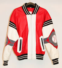 VINTAGE 90s MICHAEL HOBAN Where M I Baseball Leather Bomber Jacket Coat L