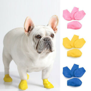 4pcs Waterproof Rubber Rain Walk Pet Shoes Boots for Small Large Puppy Dog S/M/L