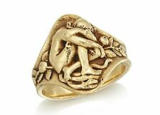 RARE SOLID GOLD FRENCH ART NOUVEAU PAUL LOUCHET EVE WITH SERPENT FORBIDDEN FRUIT