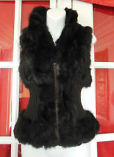 Stylish Tailored Brown Rabbit Fur & Wool Knit Sleeveless Vest with Zip Size S