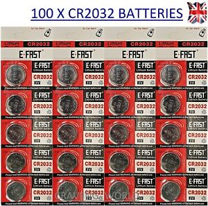 100 x CR2032 Battery BR2032 DL2032 Branded 3V LITHIUM Coin Cell Button Batteries