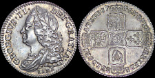 More details for 1746 george ii early milled lima silver sixpence, high grade and nicely toned