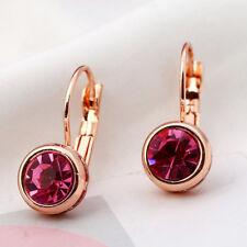 Women Rose Gold Crystal Round Cut Drop Dangle Hook Earrings Ear Stud Jewelry
