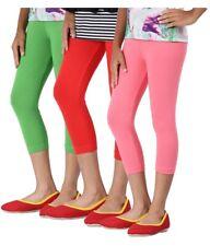 Womens Cropped Summer 3//4 Length Cotton Leggings All UK Sizes 8-28 /'/' 3//4CTnlgs
