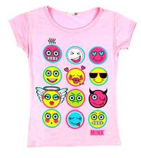Vêtements rose à col rond manches courtes pour fille de 2 à 16 ans