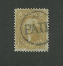 "1861 United States Postage Stamp #67 Used F/VF ""PAID"" Postal Cancel"