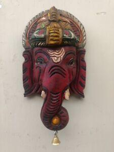 Ganesh Wall Sculpture Hindu God Ganesha Bust Statue Vintage Hand carved Figurine