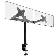 More details for fully adjustable double monitor bracket dual arm desk stand m&w