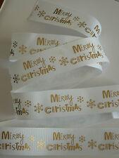 White Gold Grosgrain Christmas Ribbon 1m