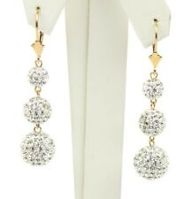 Dangle Earrings Genuine Czech Crystals Real 14K Yellow Gold  Lever Back