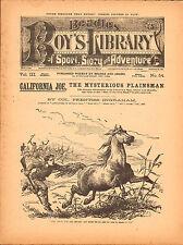 dime novel; BEADLE'S BOY'S  LIBRARY #54: California Joe, The Mysterious Plainsma