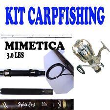 CANNA CON MULINELLO PESCA CARPFISHING MIMETICO KIT CARPA 122PIEDI 3 LIBRE