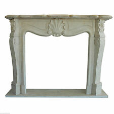 Camino Stile Luigi XVI Marmo Bianco Carrara Classic Stone Marble Fireplace Frame