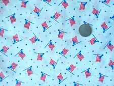 """NEW fabric 82"""" X 45"""" white background red, white and blue US flags dots stars"""