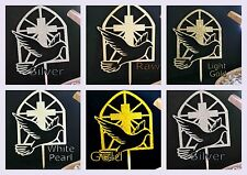 CONFIRMATION CAKE TOPPER DOVE AND CROSS HOLY SPIRIT DECORATION SIGN RAW GOLD