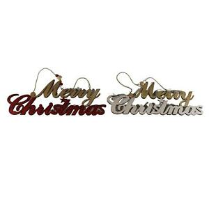 UK-Gardens 36cm Red Or White Hanging Merry Christmas Wooden Sign Decoration