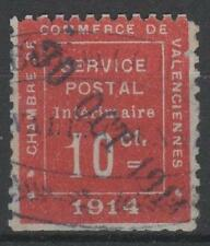"FRANCE TIMBRE GUERRE N 1 "" CHAMBRE COMMERCE VALENCIENNES 1914 "" OBLITERE TB M687"