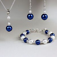 Midnight blue pearls necklace bracelet silver wedding bridesmaid jewellery set