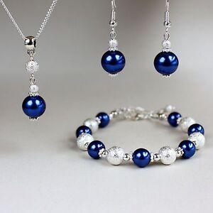 Midnight blue pearls necklace bracelet silver wedding bridesmaid jewellery set