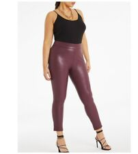 Simply Be Womans Berry Vegan Leather High Waisted Leggings Size 24