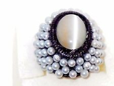 Cat's Eye Ring with glass Pearls in Black Stainless steel size 8