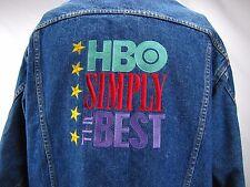 HBO Jean Jacket SIMPLY THE BEST Blue 100% Cotton Denim Vintage Trucker Mens XL