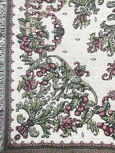 Goodwin Weavers Chenille Tapestry Fruit Flowers Lap Throw Blanket