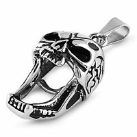 Screaming Skull Necklace Mens Stainless Steel Skeleton Head Biker Pendant