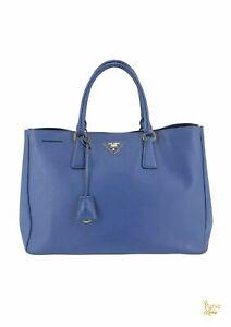 PRADA Blue Saffiano Leather Lux Tote Hand bag Sale