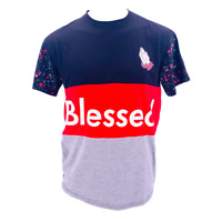 Blessed Mens Tshirt Size XL Supreme Style Text Short Sleeve Tee Praying Hands