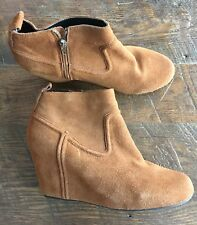 Dolce Vita DV Camel Tan Suede Wedge Ankle Boots Booties Zip Women's Size 11