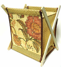 Standing Magazine Rack Wood with Floral Bamboo Design Folding for Easy Storage